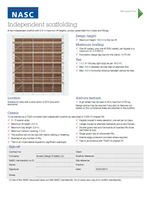Scaffolding calculation sheet