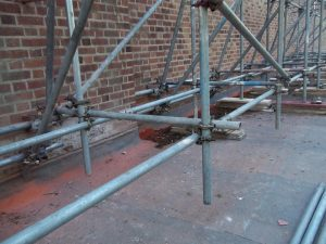 A close up of the scaffolding.