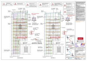 Drawings of the St Edmunds church scaffolding design.